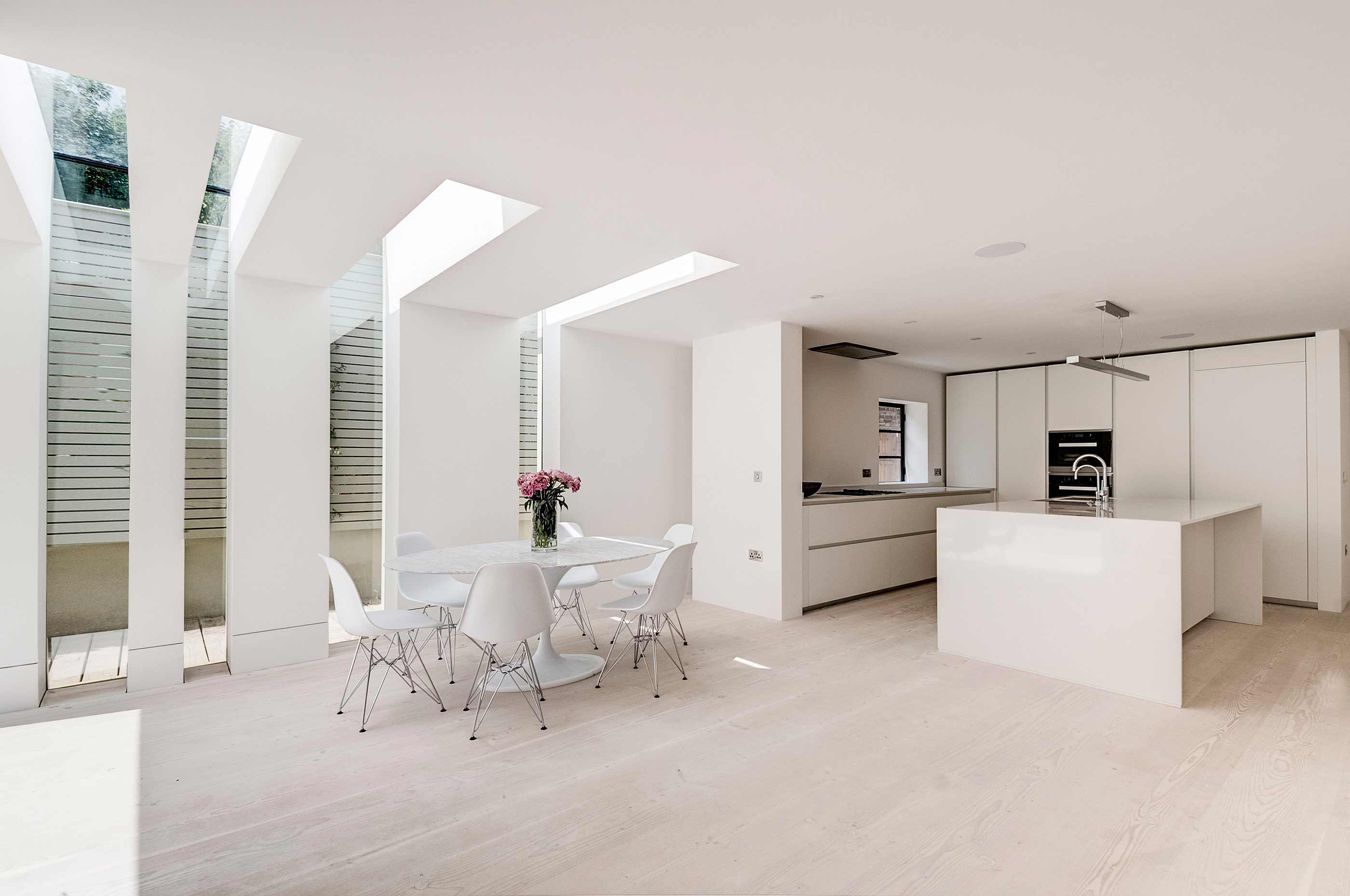 Hampstead Heath - residential house full refurbishment extension glass slots kitchen design