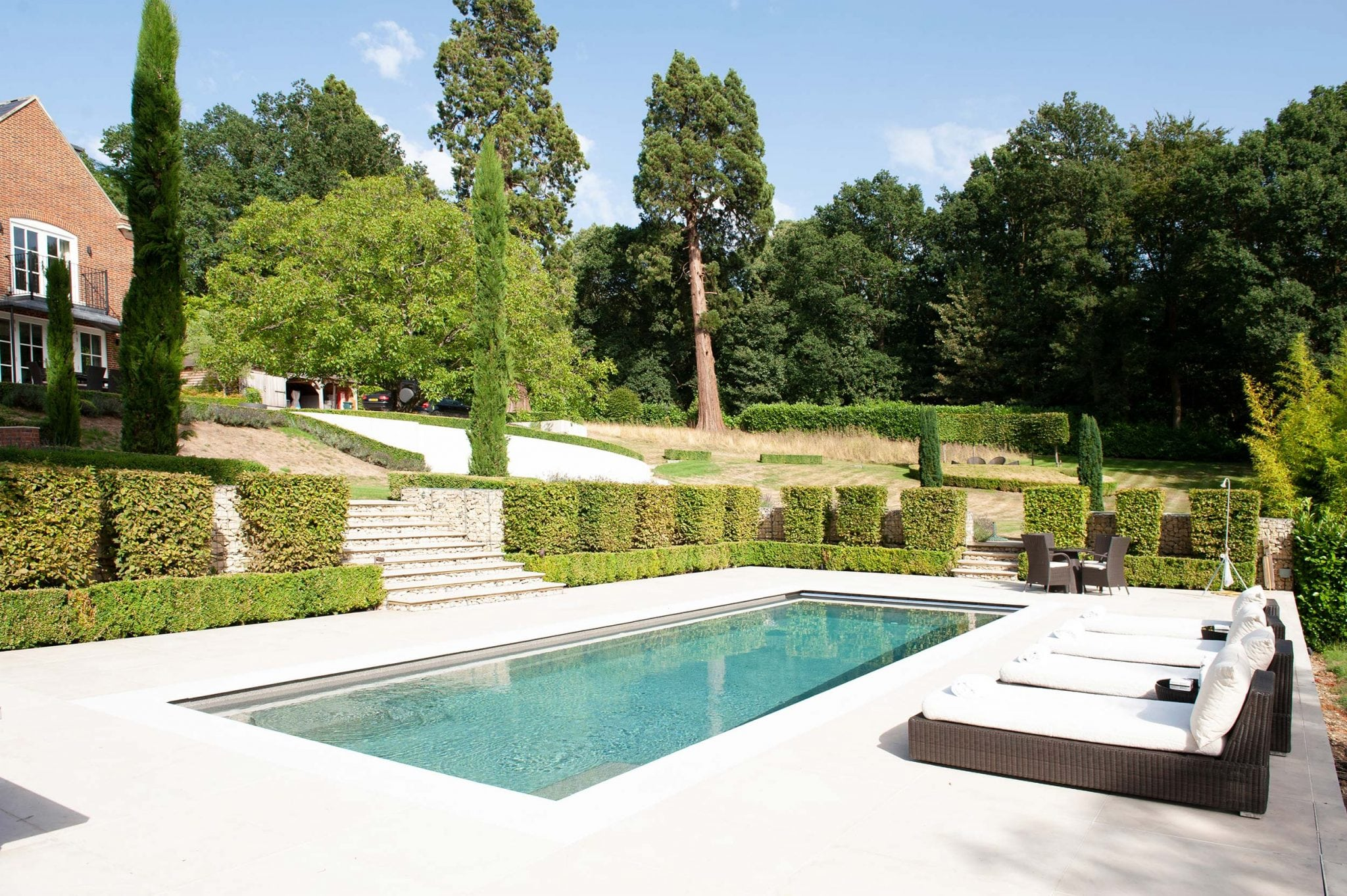 Berkshire - country mansion Georgian swimming pool landscaping